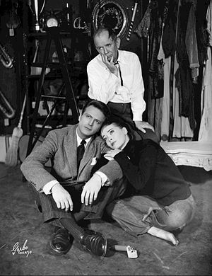 Jason Evers - Clockwise from top: Eddie Dowling, Joan McCracken, and Jason Evers in Broadway play Angel in the Pawnshop (1951)