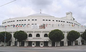 International Church of the Foursquare Gospel - Angelus Temple, built by Aimee Semple McPherson and dedicated January 1, 1923. The temple is opposite Echo Park, near downtown Los Angeles, California.