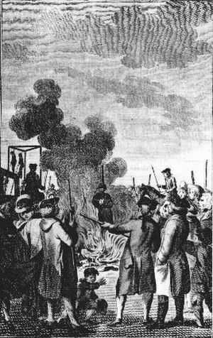 Malin Matsdotter -  A woman burned at the stake (though this picture is of an execution of a woman in England judged for having murdered her husband hundred years later, 1763).