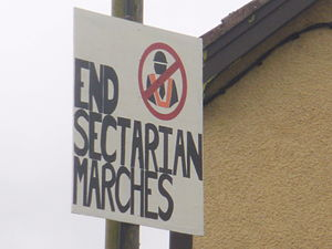 1997 nationalist riots in Northern Ireland - A placard against Orange marches in Catholic/nationalist areas