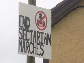 1997 Northern Ireland riots - A placard against Orange marches in Catholic/nationalist areas