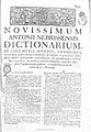 Antonii Nebrissensis... Dictionarium 1754 Nebrija 21.jpg