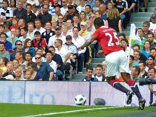 Ecuador's Antonio Valencia takes a cornerkick for Manchester United  [via Wikipedia]