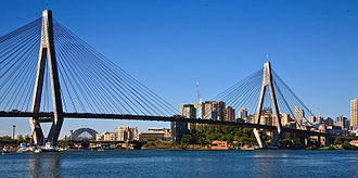 Anzac Bridge - Image: Anzac Bridge and Sydney harbour Bridge from Glebe Point