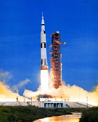 Launch vehicle - A Saturn V launch vehicle sends Apollo 15 on its way to the Moon.