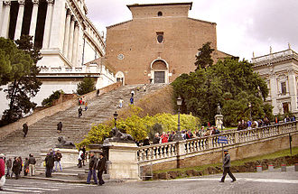 Santa Maria in Ara Coeli - Façade of the Basilica with the monumental staircase.