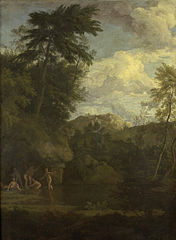 Arcadian landscape with bathing Diana