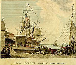 1793 Philadelphia yellow fever epidemic - Image: Arch Street Ferry