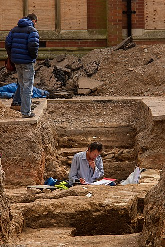 University of Leicester - Archaeologists working on the site of Richard III's grave, in the former Greyfriars Church, in September 2012