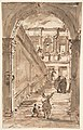 Architectural Fantasy- Figures on a Grand Staircase (recto); Studies for the Frame of a Shaped Field (verso) MET DP810420.jpg