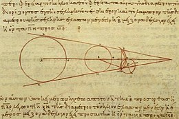 Aristarchus's 3rd century BC calculations on the relative sizes of from left the Sun, Earth and Moon, from a 10th century CE Greek copy