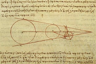 Universe - 3rd century BCE calculations by Aristarchus on the relative sizes of, from left to right, the Sun, Earth, and Moon, from a 10th-century AD Greek copy.