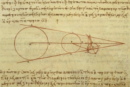 3rd century BCE calculations by Aristarchus on the relative sizes of, from left to right, the Sun, Earth, and Moon, from a 10th-century AD Greek copy. Aristarchus working.jpg
