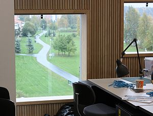 Umeå School of Architecture - Study space at the school, viewing east towards the Öbacka park.