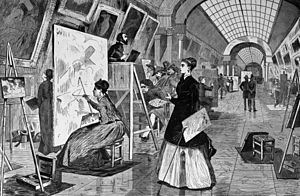 Copyist - Art-students and copyists in the Louvre gallery, Paris, 1868.