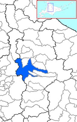 Asahikawas beliggenhed i Kamikawa på Hokkaido.