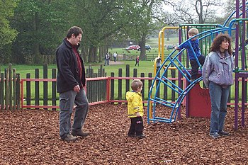 English: At play in Sutton Park. Parents and c...
