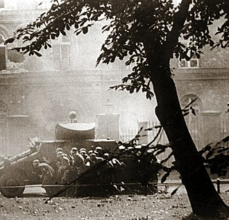 Defence of the Polish Post Office in Danzig - SS men attacking under cover of ADGZ vehicle
