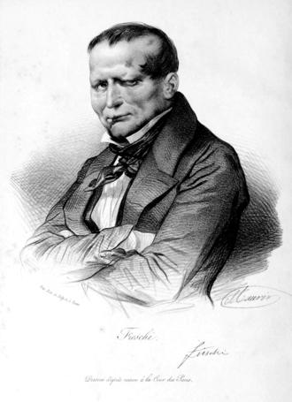 Giuseppe Marco Fieschi - A portrait of Fieschi drawn at his trial (1835)