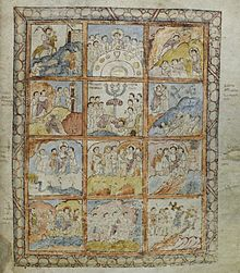 A page divided into 12 sections, each section displaying a scene from the bible