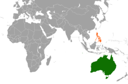 Map indicating locations of Australia and Philippines