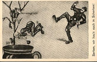 "Anti-Serbian sentiment - Austro-Hungarian propaganda postcard saying ""Serbs, we'll smash you to pieces!"""