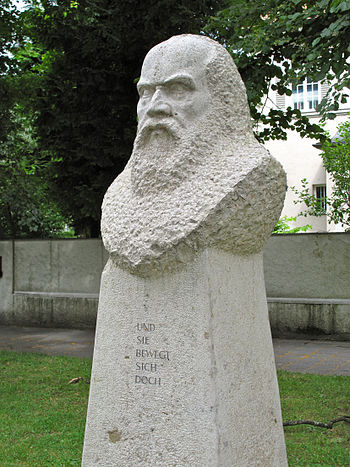 English: Bust of Galileo Galilei at the Galile...