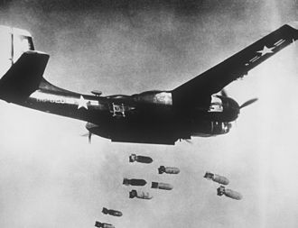 Douglas A-26 Invader - A B-26C Invader on a bombing run over Korea.