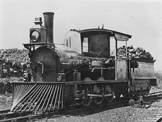 Rail transport in Queensland - Image: B12 Steam locomotive No. 14 on the Central Line, 1878
