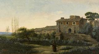 Rural Landscape with Farmhouse Figure