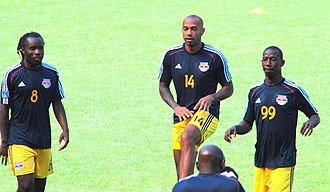 Bradley Wright-Phillips - Wright-Phillips in training with Thierry Henry and Peguy Luyindula in August 2014