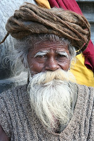 Beard - Hindu Sadhu with a goatee and moustache.