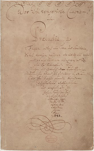 The Well-Tempered Clavier - Title page of Das Wohltemperierte Clavier, Book I (autograph)