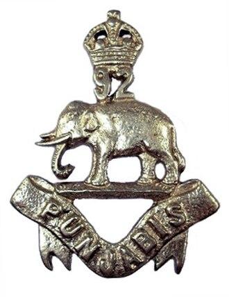 92nd Punjabis - Image: Badge of 92nd Punjabis 1903 22