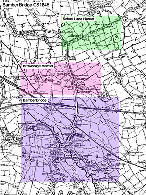 Bamber Bridge - 1845 map of Bamber Bridge.