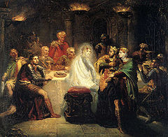 Painting showing Elizabethan era men at a dining table, with a ghost sitting on one of the stools.