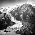 Barrier Glacier, terminus of piedmont glacier with icefall on the upper sections of the glacier, August 25, 1965 (GLACIERS 6500).jpg