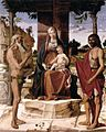 Bartolomeo Montagna - Madonna and Child under a Pergola with St John the Baptist and St Onofrius - WGA16152.jpg
