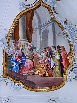 Lesson of the widow's mite - Baroque fresco at Ottobeuren.