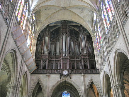 The organ of the Cathedral-Basilica of Saint-Denis (France), first organ of Aristide Cavaille-Coll containing numerous innovations, and especially the first Barker lever. Basilique Saint-Denis 02.jpg