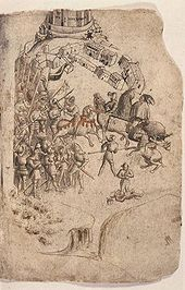 A torn manuscript page with a medieval line-drawing of a battle.