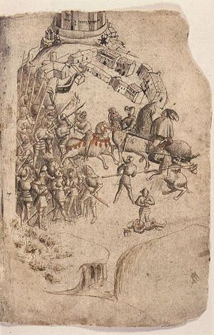 Battle of Bannockburn - This depiction from the Scotichronicon (c.1440) is the earliest known image of the battle.  King Robert wielding an axe and Edward II fleeing toward Stirling feature prominently, conflating incidents from the two days of battle.