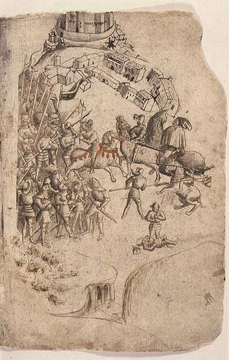 Battle of Bannockburn - This depiction from the Scotichronicon (c.1440) is the earliest known image of the battle.  King Robert wielding an axe and Edward II fleeing toward Stirling feature prominently, conflating incidents from the two days of battle.   Corpus Christi College, Cambridge.