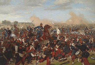 Battle of Mars-la-Tour - Heinrich XVII, Prince Reuß, on the side of the 5th Squadron I Guards Dragoon Regiment at Mars-la-Tour, 16 August 1870. Emil Hünten, 1902.