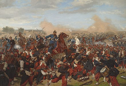 Heinrich XVII, Prince Reuss, on the side of the 5th Squadron I Guards Dragoon Regiment at Mars-la-Tour, 16 August 1870. Emil Hunten, 1902. Battle of Mars-La-Tour, August 16,1870 by Emil Hunten.jpg