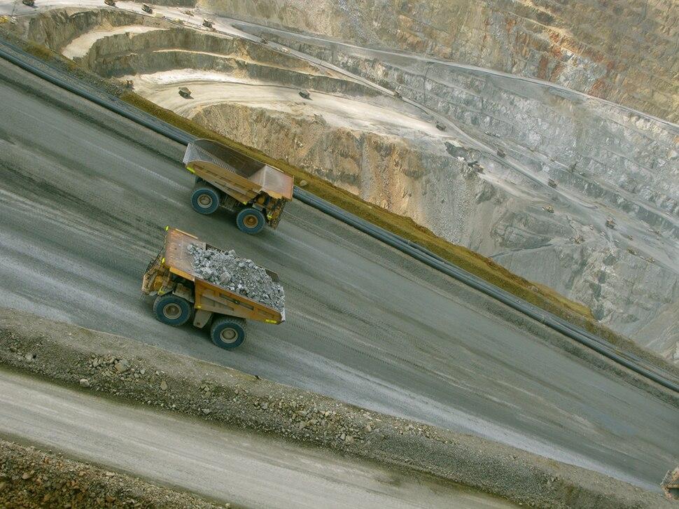 Batu Hijau mine ore trucks