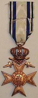 Military Merit Cross 3rd Class with Crown and Swords on wartime ribbon (reverse)