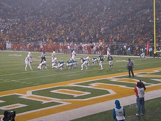 2013 Baylor Bears football team - Gameplay during the 4th quarter of the 2013 Baylor-Texas game.  Baylor wore uniforms inspired by the 1950 team, the first to play in Floyd Casey Stadium (then Baylor Stadium).