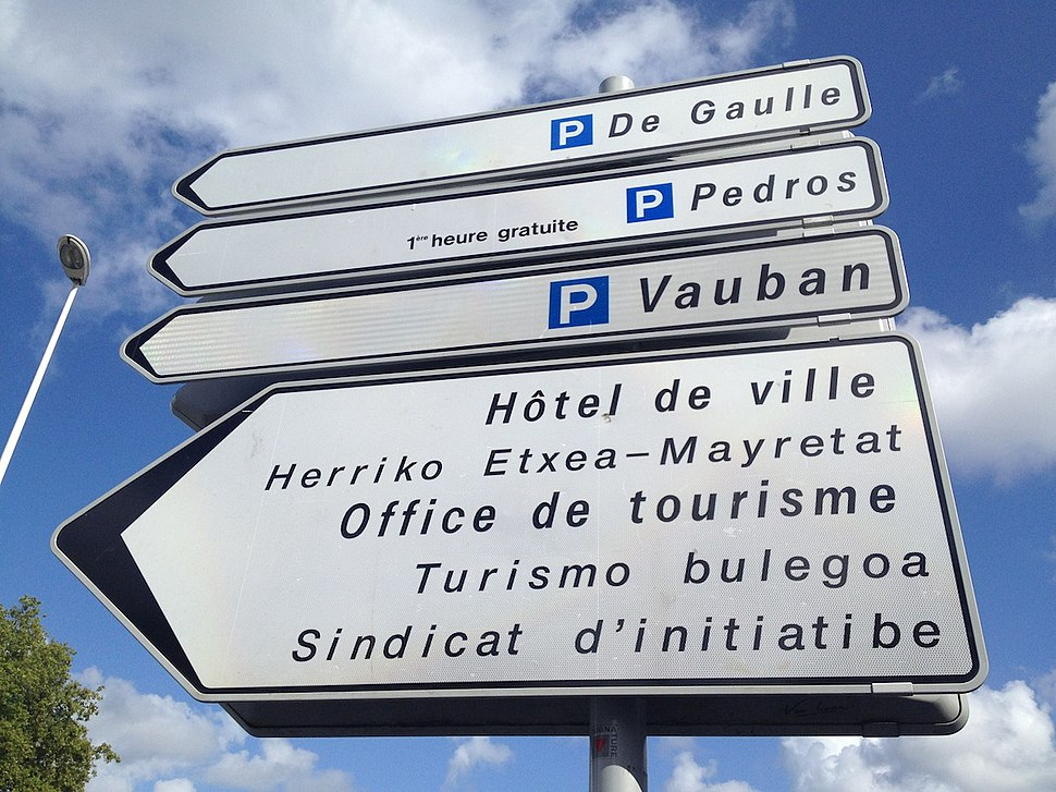 Bayonne sign in French Basque Gascon-Occitan