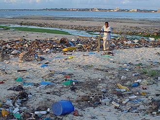 Marine debris - Debris on beach near Dar es Salaam, Tanzania.